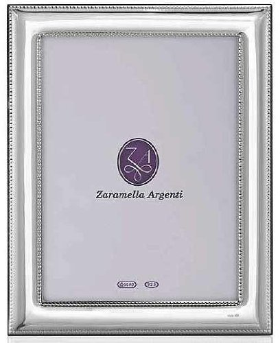 Luxurious ROME double-beaded border Sterling Silver frame by Zaramella Argenti® Italy - 8x10