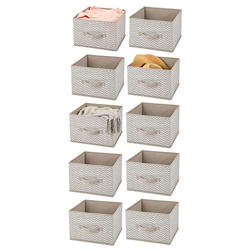 (mDesign Soft Fabric Closet Storage Organizer Holder Cube Bin Box, Open Top, Front Handle for Closet, Bedroom, Bathroom, Entryway, Office - Chevron Print, 10 Pack - Taupe/Natural)