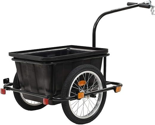 Festnight Remolque para Bicicletas Carro de Mano con un Cajón de Transporte de 50 L, Peso Soportado 150 kg, Negro Acero y Plástico: Amazon.es: Hogar