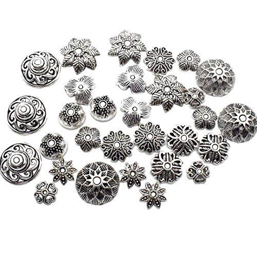 - ZC-charms 148 Flower Beads Caps Collection - Antqiue Silver Leaf Bali Bead Caps Fit 8mm 9mm 10mm 11mm 14mm Beads (HM4)