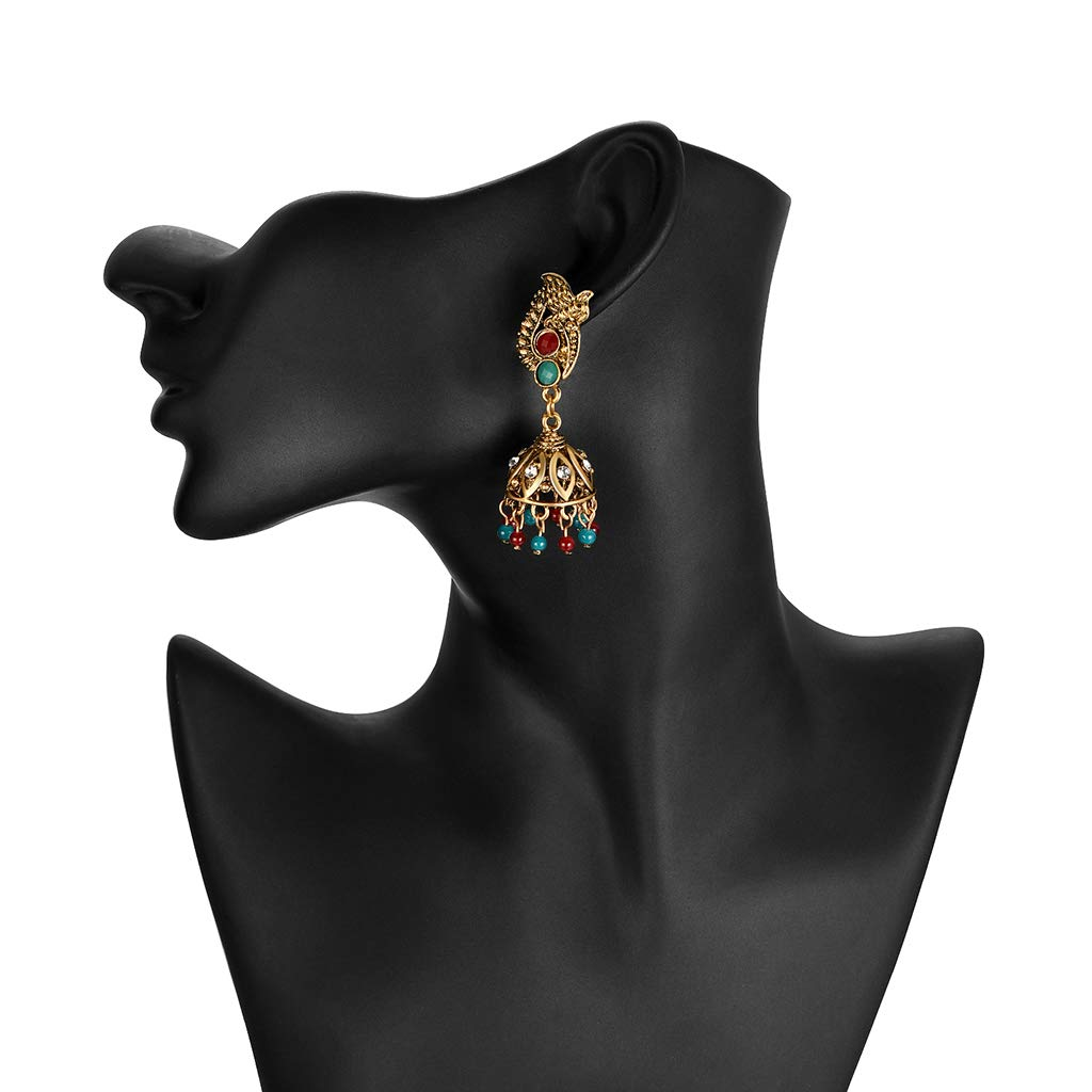 Princegame Ethnic Earrings Floral Carved Antique Hollow Tassel Beads Pendant Drop Gold Vintage Rhinestone Dazzling Party India Turkish