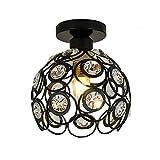 Ceiling Light Hand-Made Crystal Living Room Light Black Painting Iron Corridor Lamp MAX 60w