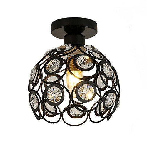 Ceiling Light Hand-Made Crystal Living Room Light Black Painting Iron Corridor Lamp MAX 60w