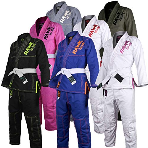 Hawk Kids Brazilian Jiu Jitsu Suit Youth Children BJJ Gi Kimonos Boys & Girls BJJ Uniform Lightweight Preshrunk Pearl Weave Fabric, with Free White Belt, 1 Year Warranty!!! (K00, Black) ()