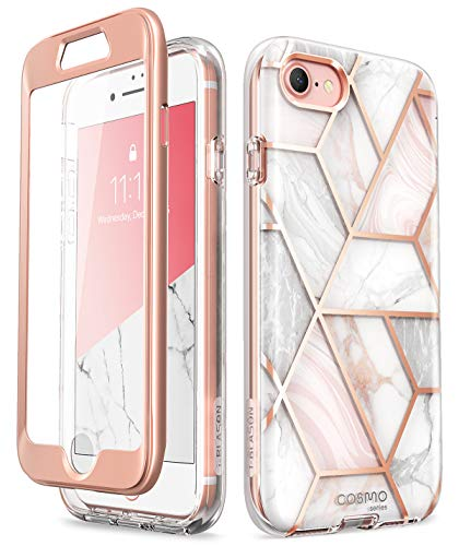 i-Blason Cosmo Designed for iPhone 8 Case/iPhone 7 Case, [Built-in Screen Protector] Stylish Protective Bumper Case for iPhone 8 (2017) / iPhone 7 (2016) (Marble)
