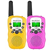 Kids Walkie Talkies Ninos 3-14 Year Old Girl and Boy Gifts Toys 22 Channels 2 Pack(Pink&Yellow) Children's Walkie Talkie Set Outdoor Adventures Hiking Camping Gear Games for Girls and Boys