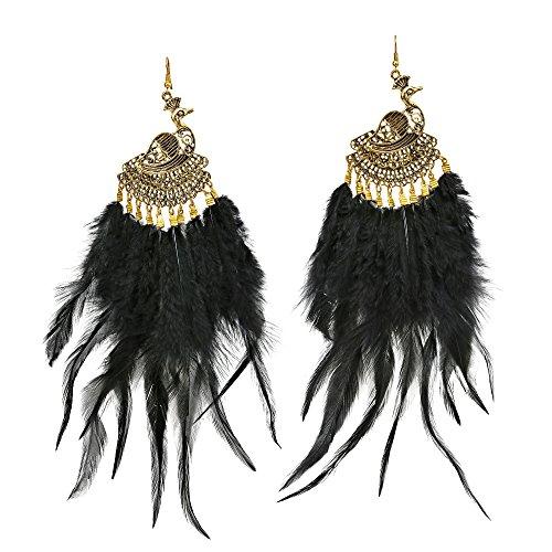 Brilliant Brass Peacock & Fluffy Black Feathers Dangle ()