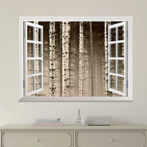 White Window Looking Out Into a Foggy Sepia Forest Wall Mural