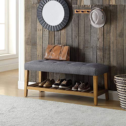 HomeRoots Simple Bench in Gray & Oak, used for sale  Delivered anywhere in USA