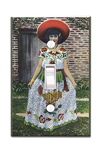 Images Of National Costumes (New Mexico - Lovely Woman in a Chinese Poblano Costume (Light Switchplate Cover))
