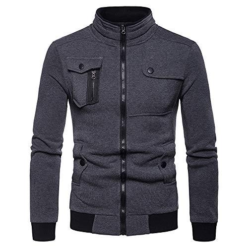 iDWZA Mens Zipper Pocket Splicing Pullover Long Sleeve Sweatshirt Tops Blouse(DarkGray,XXL)