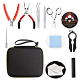 FogsLord Coil Building Tool Kit 5 in 1 Wire Coiling Tool Sets with Stainless Brush , Wrench, Ceramic Tweezers Wire Coiling Jig ,Pliers, Screwdriver,Cotton,Stainless Scissors