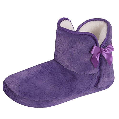 Forever Dreaming Womens Faux Fur Slipper Boots | Memory Foam Insole | Sizes 3-8 | Ribbon Slip On Purple TbhPge4JT