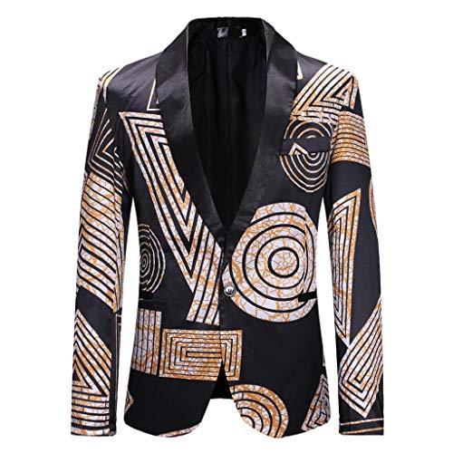 Suit Jacket for Men's Print Slim Fit Single Button Coat Top Tuxedo Party,Wedding,Banquet,Prom Khaki