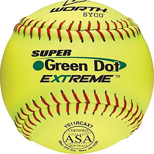 Worth YS11RCAXT ASA Slowpitch 11-Inch Super Green Dot Softballs