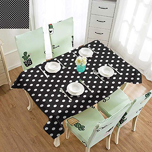 DILITECK Polyester Tablecloth Black and White Classical Pattern of White Polka Dots on Black Traditional Vintage Design Easy to Clean W70 xL102 Onyx White ()