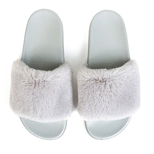 JINKUNL Furry Slippers Open Toe Indoor Outdoor Casual Flat Slide Sandals for Women Grey