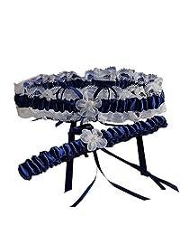 XY Fancy 5 Colors Lace Ruffle Satin Wedding Garter Set of 2 Bridal Garter Belt Toss/Keepsake Navy Blue