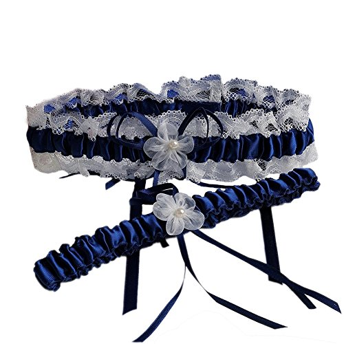 XY Fancy 5 Colors Lace Ruffle Satin Wedding Garter Set of 2 Bridal Garter Belt Toss/Keepsake Navy Blue
