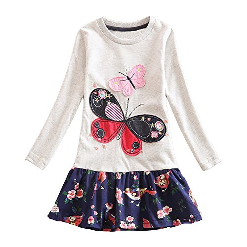 DXTON Little Girl Children Kid Long Sleeve Flower Cotton Dresses LH5460GRAYDX-8T -