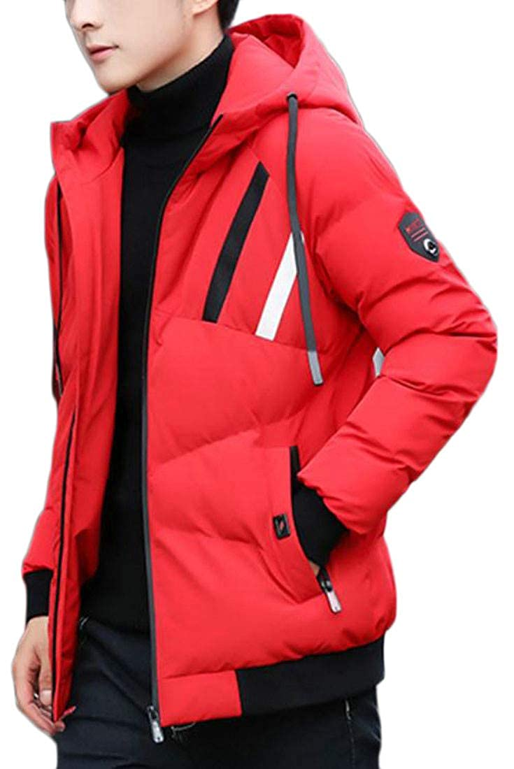 Lutratocro Men Hooded Print Winter Thick Down Jacket Quilted Parka Coat