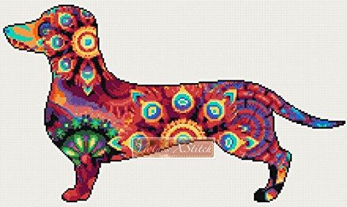 - Mandala dachshund counted cross stitch kit