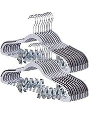 SONGMICS 20-Set Plastic Pants Hangers with Clips, 360° Swivel Hook, Non-Slip, Gray UCRP01G20
