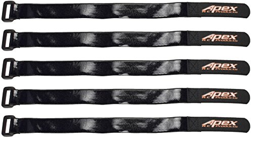 5 PACK 20mm x 300mm HD Rubberized Battery Straps Non-Slip - Apex RC Products #3031