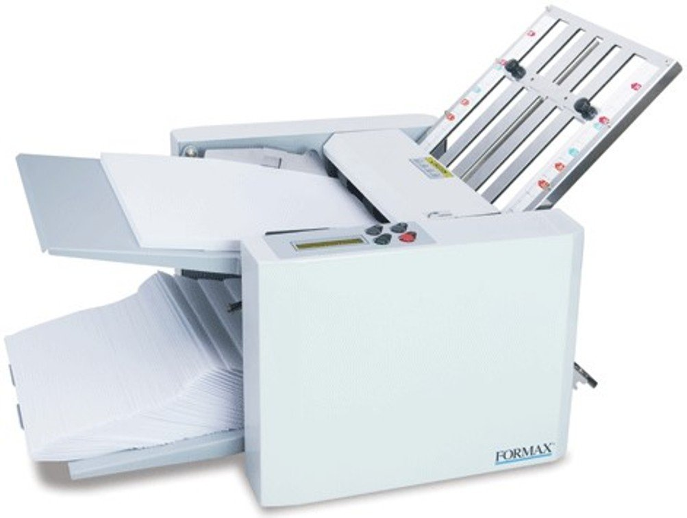 Formax FD 300 Document Folder, LCD control panel with 3-digit resettable counter, Folds up to 7,400 sheets per hour, Output conveyor for neat and sequential stacking
