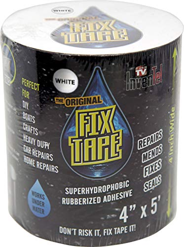 The Original Fix Tape (As Seen On TV), Rubberized Waterproof Tape, Boat Repair (White, 4 inches x 5 feet) ()