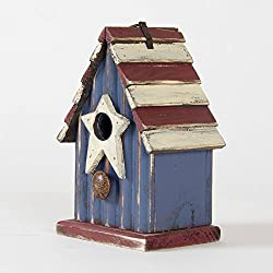 "Glitzhome 9.06"" H Rustic Patriotic Garden Distressed Wooden Decorative Bird House"