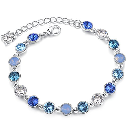 STAR SANDS Starry Sky Crystal Bracelet Made with 17pcs Round Shaped Crystals from Swarovski, Blue