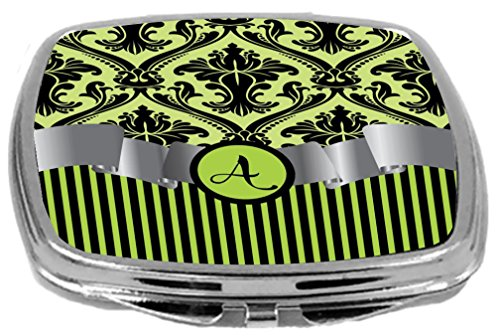 - Rikki Knight Compact Mirror, Letter a Initial Lime Green Damask and Stripes