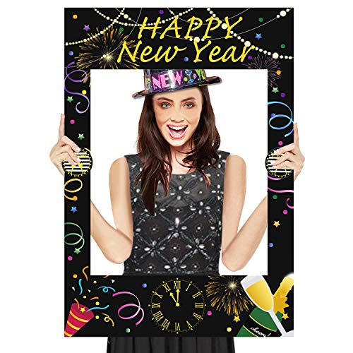 Happy New Year Photo Booth Props Frame - New Years Eve Photo Booth Frame - Cheers to 2019 Party Supplies]()
