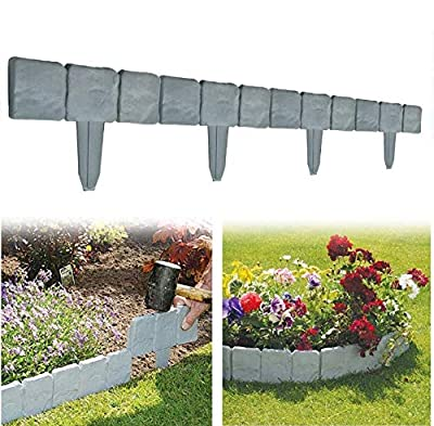 Yosooo Faux Stone Effect Landscaping Garden Edging, 10 PCS Spring Yard Lawn Garden Plastic Faux Stone Patio Border Edging Fence