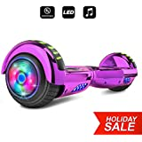 Spider Wheels Series Hoverboard UL2272 Certified Hover Board Electric Scooter with Built in Speaker Smart Self Balancing Wheels (_Chrome Purple)