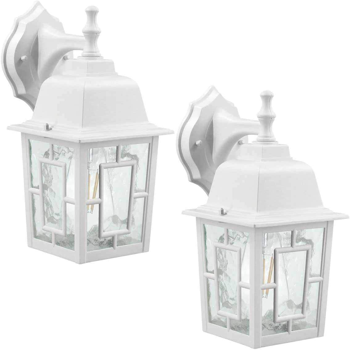 LED Wall Lantern, Wall Sconce as Porch Light, 100-150W Equivalent , 1100 Lumen, Aluminum Housing Plus Glass, Matte Finish, Outdoor Rated, ST64 8W ,White for 2Pack 9031
