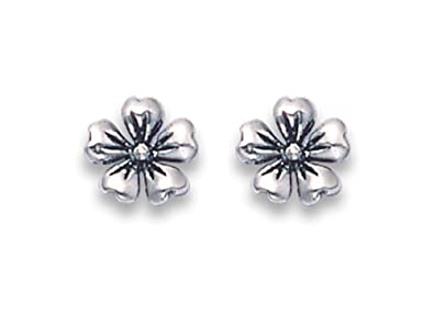 Sterling Silver satin finish flower Stud Earrings - SIZE:6mm Gift Boxed 5164. 2clICCO1