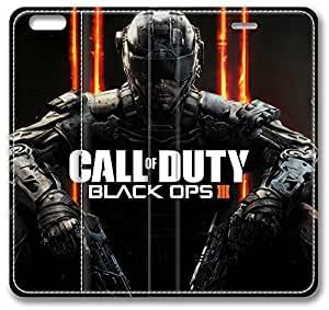 """Call Of Duty Black Ops Iii iPhone 6 Plus Plus Case, Leather Cover for iPhone 6 Plus (5.5"""") Premium Soft PU Leather Wallet Cover - Verizon, AT&T, Sprint, T-Mobile, International, and Unlocked with Black PC Hard Case Inside for iPhone 6 Plus by iCustomonline"""