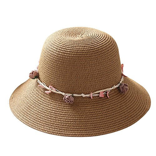 AMAZZANG-Mom Girl Summer Straw Hat Parent-child Floppy Wide Brim Shell Beach Cap Sun Hat (m(adult), khaki)
