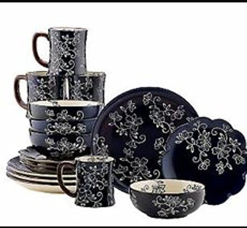 Temp-tation 16 pc stonewear Dinner Set,Old World Floral Lace Black,Service (Floral Dinnerware Set)