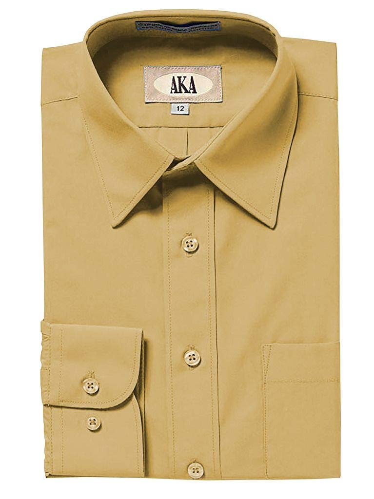 AKA Boys Solid Dress Shirt - Button Down Long Sleeve Wrinkle Free -Tan 6 by AKA