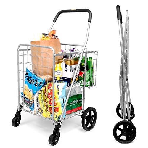 SUPENICE SN7504 Durable Utility Folding Shopping Cart, Double Basket, Medium Size with 360 Rolling Swivel Wheels, 66 lbs Capacity for Laundry, Shopping, Grocery, Heavy School Bags
