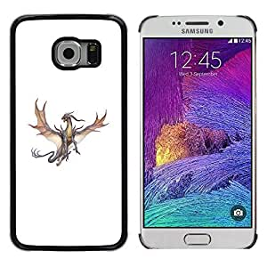 Colorful Printed Hard Protective Back Case Cover Shell Skin for Samsung Galaxy S6 EDGE / SM-G925 / SM-G925A / SM-G925T / SM-G925F / SM-G925I ( Dragon Brown Grey Flying Fierce Cartoon )