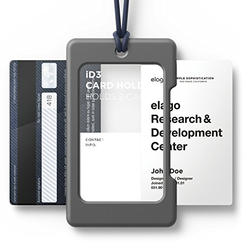 elago ID3 ID Card Holder [Body-Dark Grey / Strap-Jean Indigo] - [Two Card Storage][Lighter Silicone Strap][Light Weight] - for ID Cards & Credit Cards