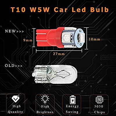 EverBright 20-Pack 194 Led Bulb Red, 5050 5-SMD T10 194 168 W5W 2825 LED Bulb For Car Interior Lights Dome Map Trunk Light Clearance Dashboard Bulb License Plate Light Lamp DC 12V: Automotive