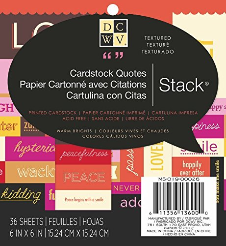 Textured Brights Cardstock Stack - DCWV Cardstock Quote Stack, Warm Brights, 36 Sheets, 6 x 6 inches