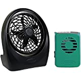 O2cool Portable 5-inch Battery Powered Lightweight Durable Fan With O2COOL Teal Necklace Fan Bundle