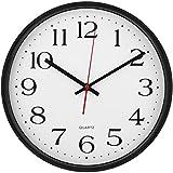 Large Wall Clock Silent & Non-Ticking - Modern Quartz Design - Decorative 12-Inch Black Clock - by Utopia Home