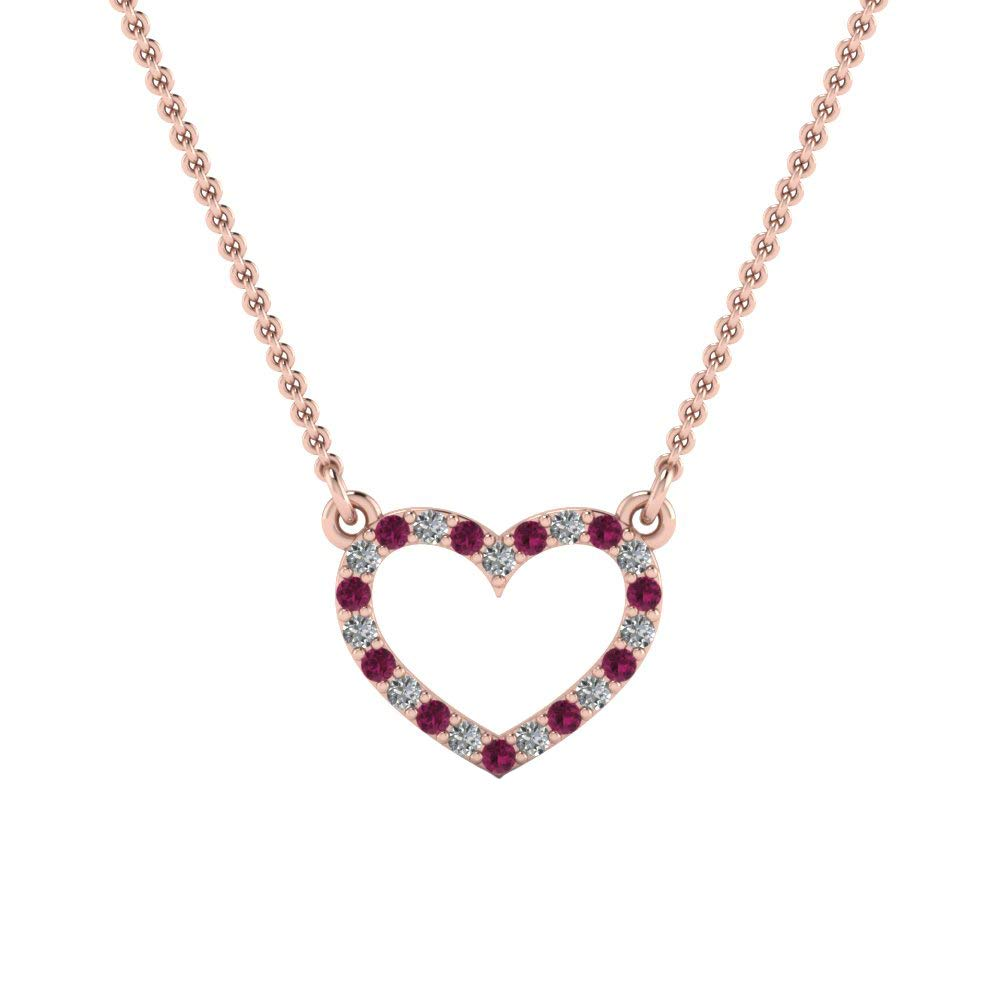 Ringjewels 0.16 Ct Round Cut Sim Pink Sapphire Diamond Heart Pendant W//18 Chain in 14K Gold Plated 925